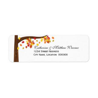 Etiquetas del remite de las hojas del otoño que etiqueta de remitente