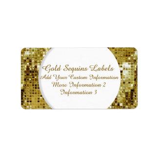 Etiquetas del remite de las lentejuelas del oro etiquetas de dirección