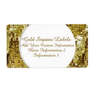 Etiquetas del remite de las lentejuelas del oro etiquetas de envío