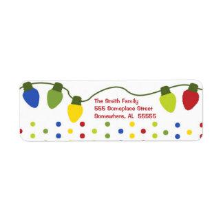Etiquetas del remite de las luces de navidad etiqueta de remitente