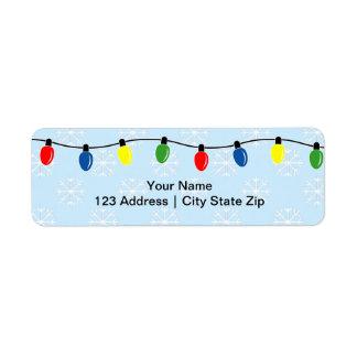 Etiquetas del remite de las luces de navidad etiquetas de remite