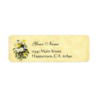 Etiquetas del remite de las violetas y de las flor etiquetas de remite
