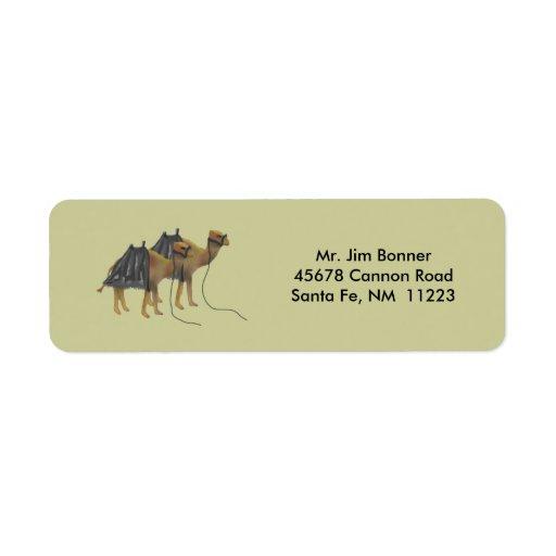 Etiquetas del remite de los camellos del desierto etiqueta de remite