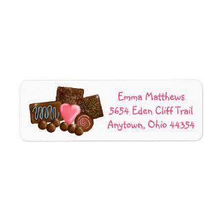 Etiquetas del remite de los chocolates dulces etiqueta de remitente