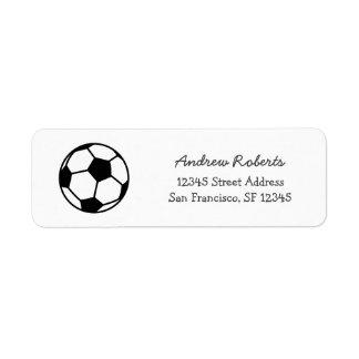 Etiquetas del remite de los niños con el balón de etiquetas de remite
