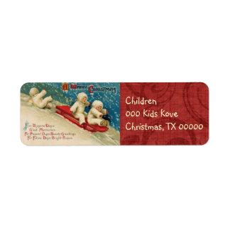 Etiquetas del remite de los niños del navidad del etiquetas de remite