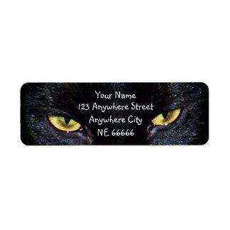 Etiquetas del remite de los ojos de gato negro etiqueta de remite