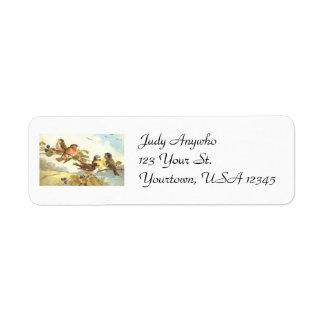 Etiquetas del remite de los pájaros del vintage etiquetas de remite
