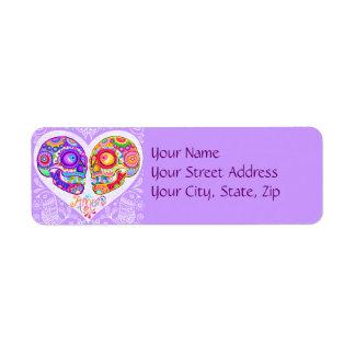 Etiquetas del remite de los pares del amor del crá etiqueta de remite