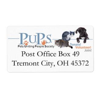 Etiquetas del remite de los perritos etiquetas de envío