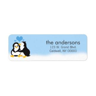 Etiquetas del remite de los pingüinos del amor etiquetas de remite
