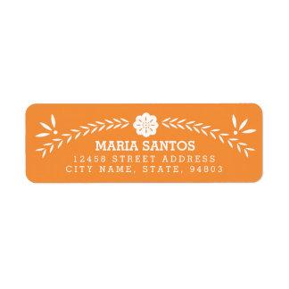 Etiquetas del remite de Papel Picado - naranja Etiqueta De Remitente