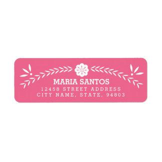 Etiquetas del remite de Papel Picado - rosa Etiquetas De Remite