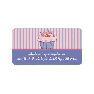 Etiquetas del remite de princesa Cupcake Etiqueta De Dirección
