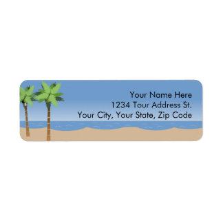 Etiquetas del remite de Vista de la playa Etiqueta De Remite