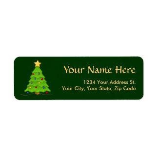 Etiquetas del remite del árbol de navidad etiquetas de remite