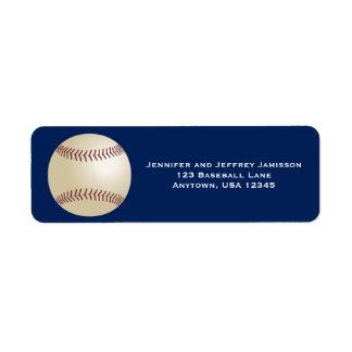 Etiquetas del remite del béisbol en azul marino etiqueta de remitente