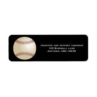 Etiquetas del remite del béisbol en negro etiqueta de remitente