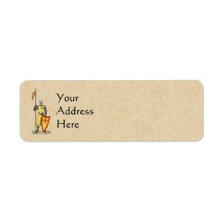 Etiquetas del remite del caballero del cruzado etiqueta de remitente