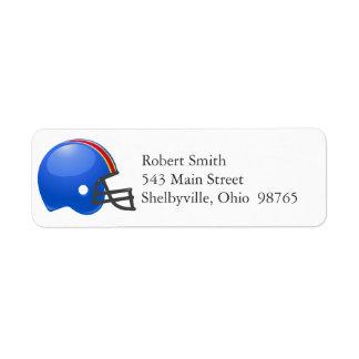 Etiquetas del remite del casco de fútbol americano etiquetas de remite