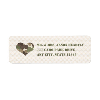 Etiquetas del remite del corazón del camuflaje de  etiquetas de remite