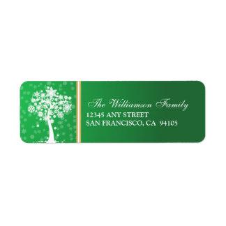 Etiquetas del remite del día de fiesta del árbol etiqueta de remite