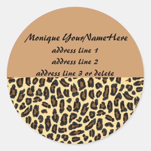 Etiquetas del remite del estampado leopardo pegatina redonda