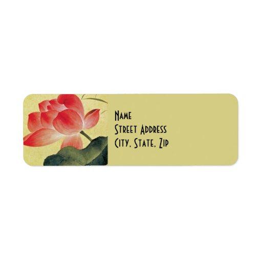 Etiquetas del remite del flor de Lotus Etiqueta De Remite