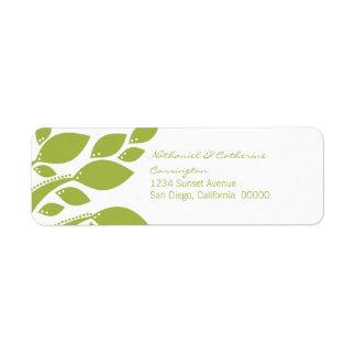 Etiquetas del remite del follaje del otoño, verdes etiquetas de remite
