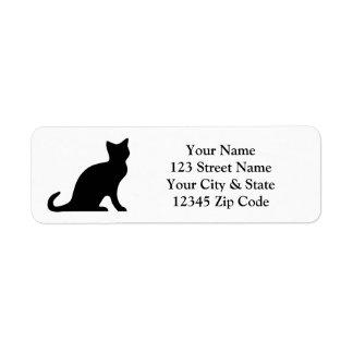 Etiquetas del remite del gato negro etiqueta de remite