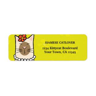 Etiquetas del remite del gato siamés etiqueta de remite