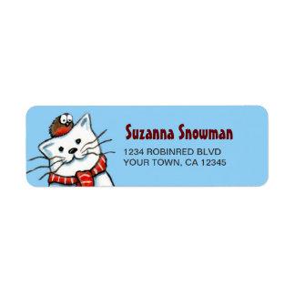 Etiquetas del remite del gato y del petirrojo del  etiquetas de remite