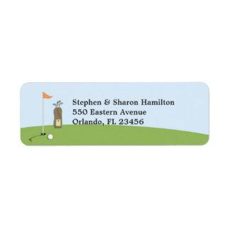 Etiquetas del remite del golf etiqueta de remite