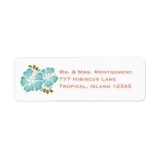 Etiquetas del remite del hibisco de la piscina y etiqueta de remite