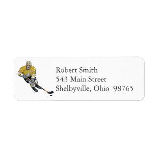Etiquetas del remite del jugador de hockey etiquetas de remite