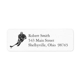 Etiquetas del remite del jugador de hockey etiqueta de remite