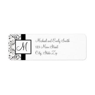 Etiquetas del remite del monograma etiqueta de remite