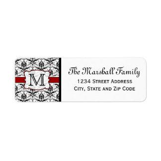 Etiquetas del remite del monograma del damasco (de etiqueta de remitente