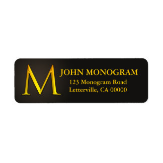 Etiquetas del remite del monograma M del color oro Etiquetas De Remite