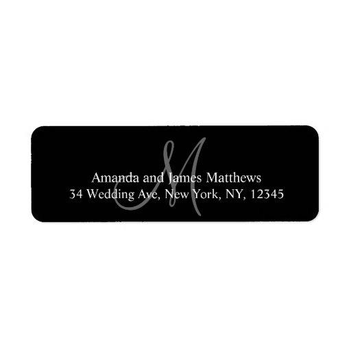 Etiquetas del remite del monograma para los bodas etiqueta de remite