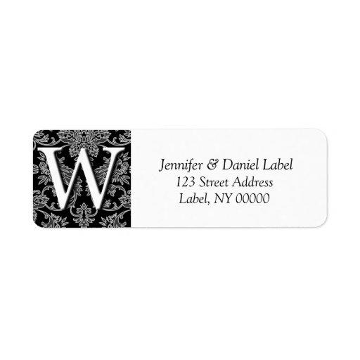 Etiquetas del remite del monograma W del damasco Etiqueta De Remite