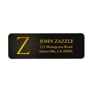 Etiquetas del remite del monograma Z del color oro Etiqueta De Remitente