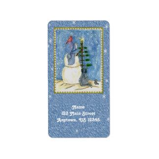 Etiquetas del remite del muñeco de nieve del etiquetas de dirección