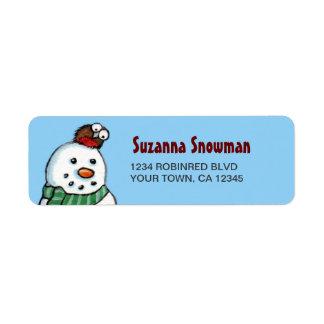 Etiquetas del remite del muñeco de nieve y del pet etiquetas de remite