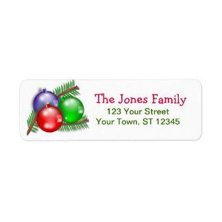Etiquetas del remite del navidad etiquetas de remite
