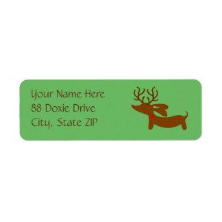 Etiquetas del remite del navidad de Doxie del reno Etiqueta De Remitente
