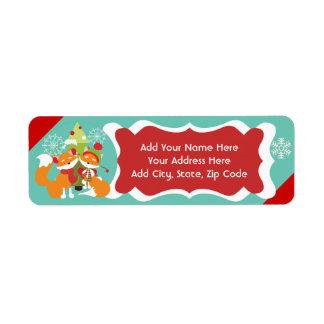 Etiquetas del remite del navidad del Fox rojo Etiquetas De Remite