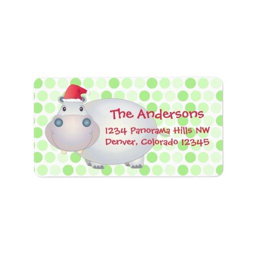 Etiquetas del remite del navidad del hipopótamo etiqueta de dirección
