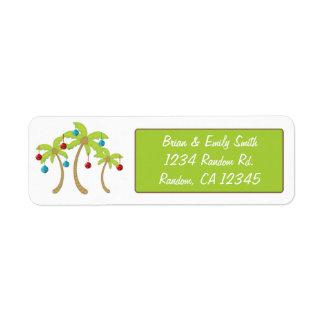 Etiquetas del remite del ornamento de la palmera d etiqueta de remite