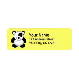Etiquetas del remite del oso de panda etiqueta de remite